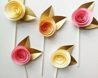 10 Pastel Rose Cupcake Toppers