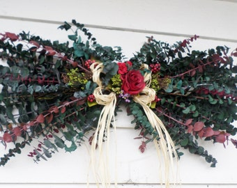 Dried flower swag etsy brighten your summer decor with this preserved eucalyptus red flower swag dried floral wreath swag mightylinksfo Choice Image