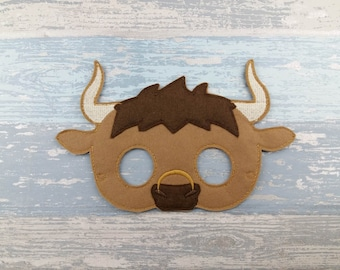 Bull Mask - Felt Bull Mask - Barnyard Animal Birthday - Felt Animal Mask - Felt Mask Dress Up Pretend - Animal Party Favor - Halloween Mask