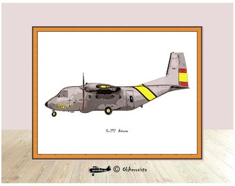 Casa C-212 Aviocar, airplane decor print, kids aircraft printable, aircraft picture frame, aviation theme party, travel theme nursery, uncle
