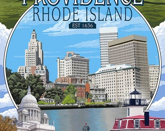 Providence, Rhode Island - Montage Scenes (Art Prints available in multiple sizes)