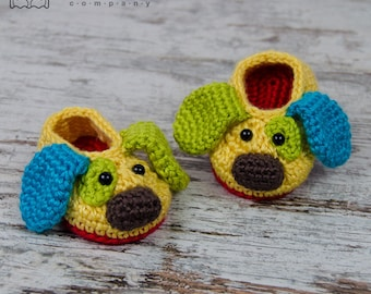 Scrappy the Happy Puppy Slippers - PDF Crochet Pattern - Baby sizes ( 0-3, 3-6, 6-12 months ) - Shoes Baby Newborn Slippers