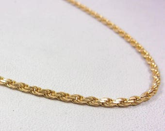 """Solid 14K Yellow Gold 22"""" Rope Chain Necklace 1.7mm 8.0 grams"""