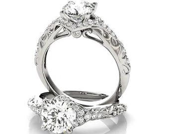 Bague de fiançailles de Style victorien, bague Moissanite 1 Carat, toujours une Moissanite bague, bague de fiançailles Moissanite, vrais diamants sur le réglage
