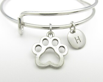Dog Paw Print Bangle, Adjustable Expandable Bangle Bracelet, Personalized Initial Bracelet, Silver Paw Print Charm, Stacking Bangle K017