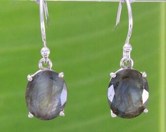 Natural Gemstone Labradorite 925 Solid Sterling Silver Handmade Earring