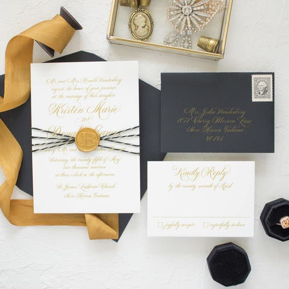 Wax Seal Wedding Invitation Suite, Monogram Wax Seal, Gold Invitations with Calligraphy in Metallic Gold and Black | SAMPLE | Sweetheart