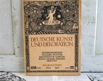 Vintage German Art Nouveau Magazine - Deutsche Kunst Und Decoration - 1932