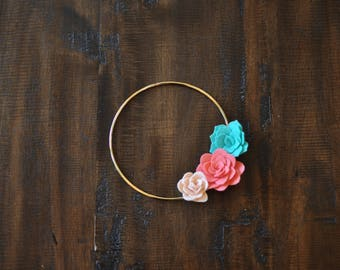 "Felt Succulents Wreath - 7"" - Pink Coral and Mint"