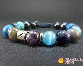 Sagittarius jewelry Zodiac bracelet Zodiac gift Zodiac stones Astrology Horoscope Blue Birthday jewelry Mystic Birthstone Galaxy space