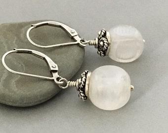 White Vintage Glass Cube Earrings, Bali Sterling Silver Earrings, Everyday Earrings, Short Simple Earrings