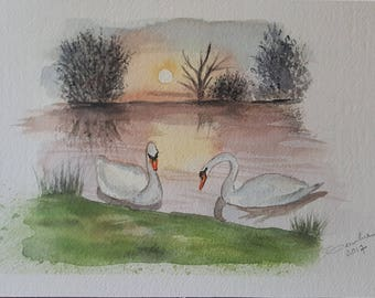 Painting with watercolor-swans at sunset-27 x 18 cm-100% cotton paper-author Teresalia