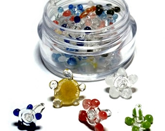 Glass Screens For Pipes [Daisy / Flower Style] 20pc w/ Mini Container / Vial