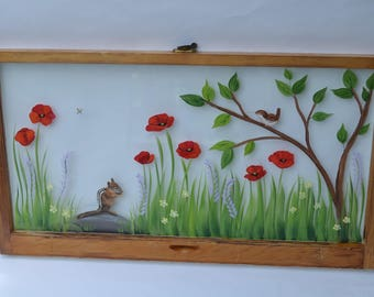 Hand Painted Window/Chipmunk/Poppies/Wren/Old Windows/Vintage Windows