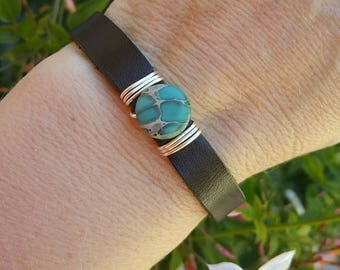 Jasper stone and leather bracelet, Custom made