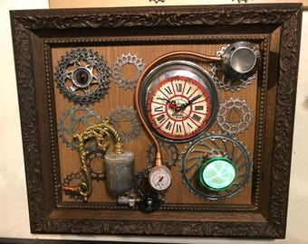 "WALL CLOCK "" ELECTROTIME "" Wall Art Steampunk Sci-fi Victorian Industrial"