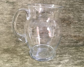 Blown Glass Pitcher, Clear Glass Pitcher, Clear glass Applied Handle, 16 oz Pitcher