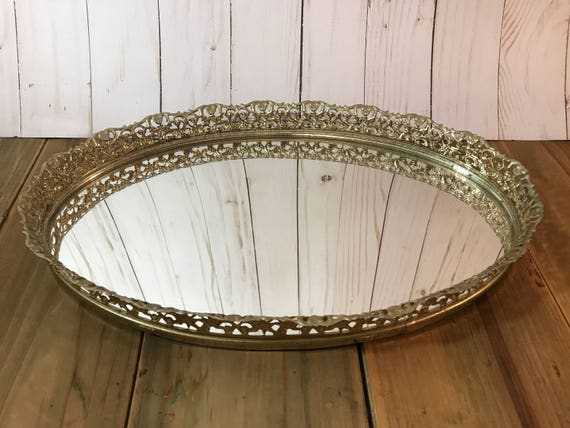 Like this item? - Vintage Mirrored Vanity Tray Gold Filigree Oval Decorative