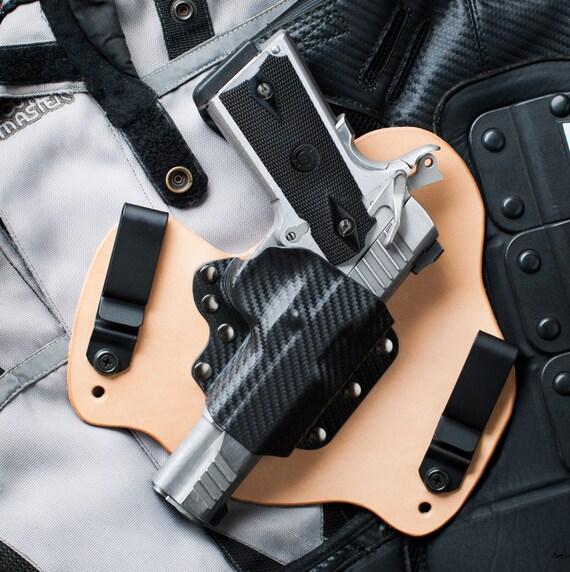 1911 Carbon Fiber Kydex Leather Hybrid Iwb Gun Holster