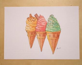 Trio of Ice Creams - Watercolour Print