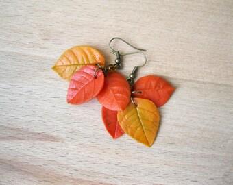 October birthday gifts Leaf dangle earrings Autumn earrings Bohemian jewelry Fall leaves jewelry Fall fashion Woodland earring Leaf earrings