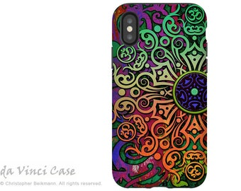 Tribal Mandala Art - Artistic iPhone X Tough Case - Dual Layer Protection for iPhone 10 - Tribal Transcendence by Da Vinci Case