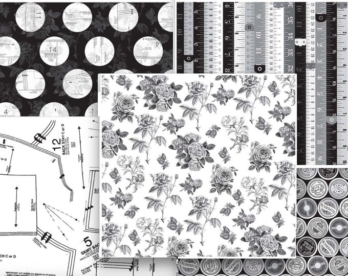 Sew Charming by Bo Bunny for Riley Blake, 1 yard each - 5 pieces -Black and White cotton fabric bundle