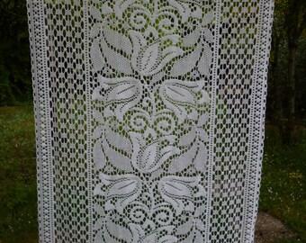 """Art Nouveau. Très joli Long unique Français Vintage Ivoire Floral Rideau 24 w x 69"""" 60 x 175 cm"""