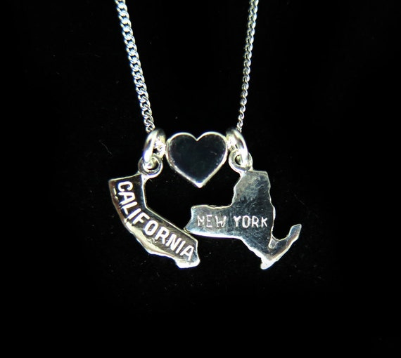 California Loves New York - Sterling Silver Chain and Silver Charm Necklace