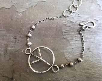 Hippie Chic Bracelet - Peace Bracelet - Oxidized Sterling Silver Bracelet - Pyrite Bracelet - Simple Boho Bracelet