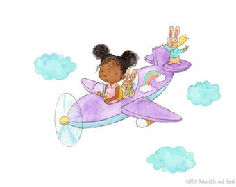 We're Going On An Adventure - Girl and Bunnies in Airplane - Art Print