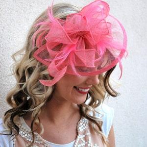 Bubble Gum Pink Fascinator, Womens Tea Party Hat, Church Hat, Derby Hat, Fancy Hat, Pink Hat, Tea Party Hat,wedding hat