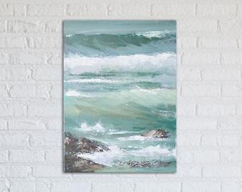 "Ocean Painting Art Acrylic Original // ""Salt Skin"" 12 x 16"" on Canvas"