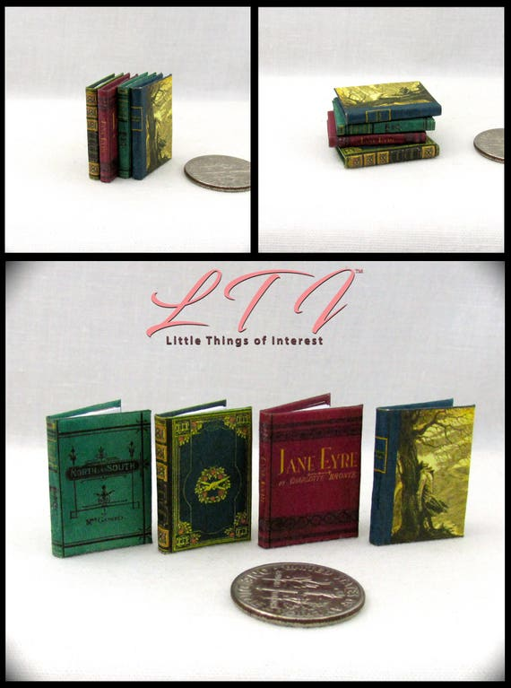VICTORIAN NOVELS Books (4) Illustrated Book Set 1:12 Scale Miniature Dollhouse North and South Vanity Fair Jane Eyre Withering Heights
