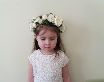 Blush Ivory flower crown,White Blush Floral crown,First communion crown,Wedding flower crown,Flower girl crown,Toddler flower crown