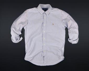 Casual Top Oxfords Ralph Lauren Long Sleeve Button Down Size M/Polo Ralph Lauren Custom Fit Striped Medium Size