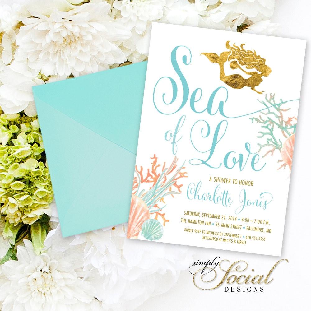 Under the Sea Mermaid Bridal Shower Invitation Boho Sea of Love