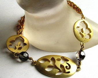 Gold or Silver Tone Open Hollow-work Brushed-finish Aluminum Bracelets with Swarovski Crystals