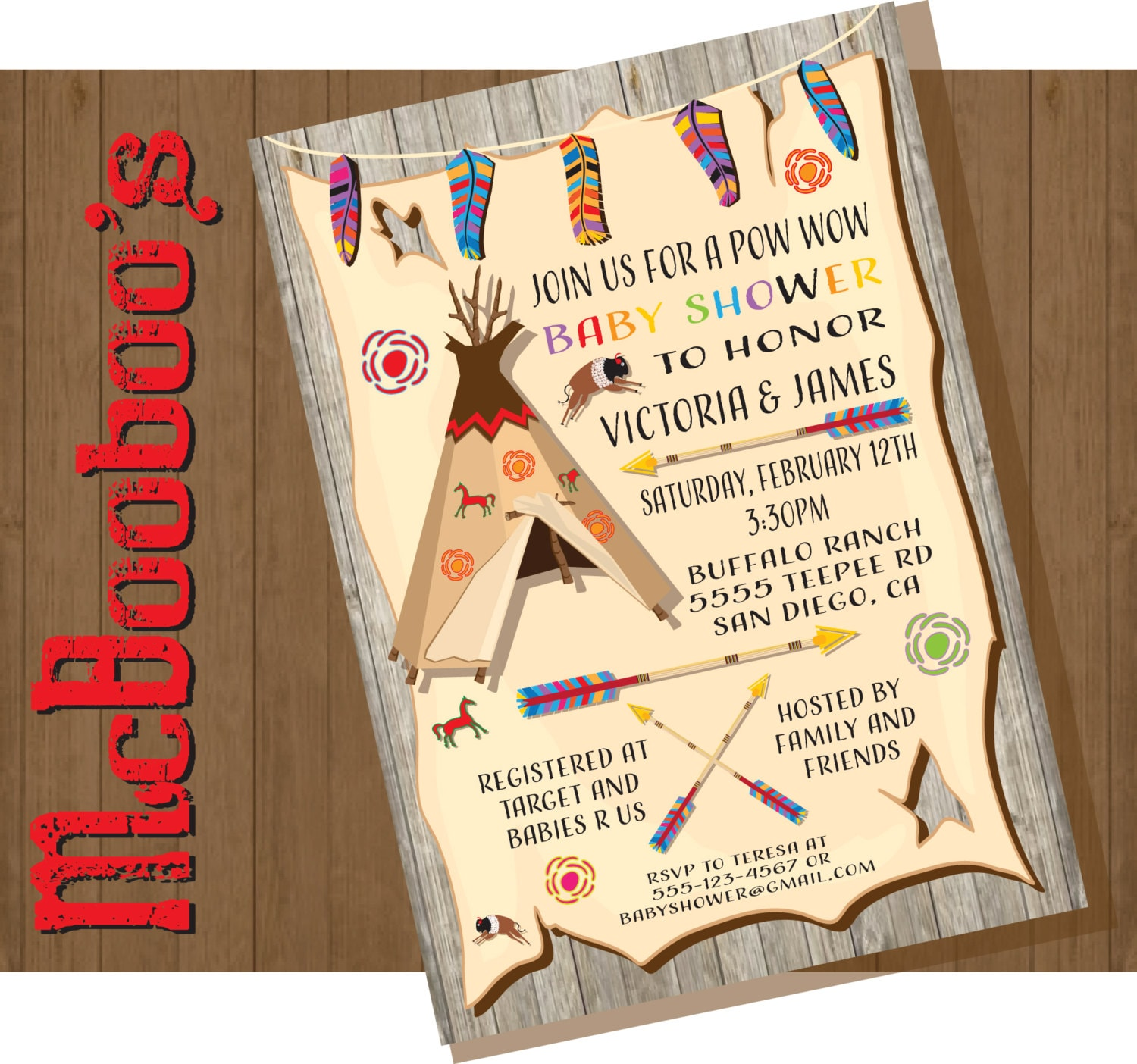 Tribal American Indian Baby Shower Invitations with feathers