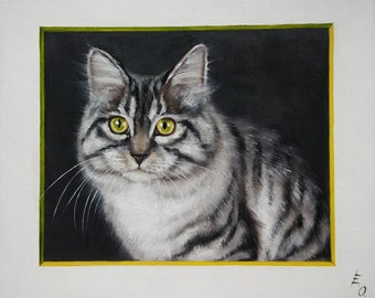 Portrait of a gray cat Oil Painting Cat