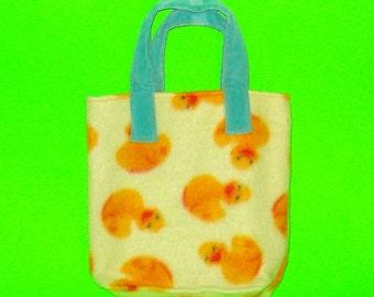 Rubber Duck Orange and Yellow Printed Super Soft Fleece Purse Classic Handbag Tote