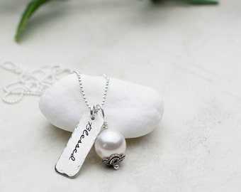 Blessed Necklace, Inspirational Jewelry, Hand Stamped Necklace, Faith, Sterling Silver Necklace, Gift for Friend, Christian Jewelry