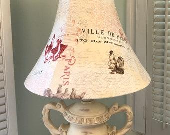 French Country Lamp Shade, Paris Lamp Shade, French Farm House Lamp Shade, French Lamp Shade, Rooster Lamp Shade, French Script Lamp Shade