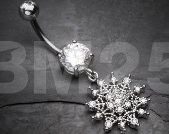 Glistening Sparkle Sunburst Belly Button Ring