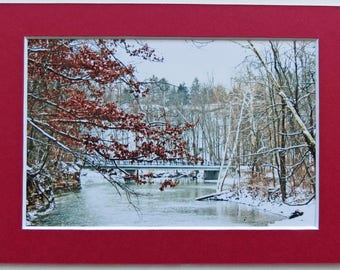 Matted 4x6 Over the River Winter Snow Scene with Bridge and Trees Photography Signed Artwork Print Home Decor Small Wall Art