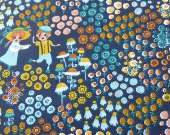1/2 Yard Organic Cotton Fabric - Birch Fabrics, the Hidden Garden, Meadow Frolic Dusk
