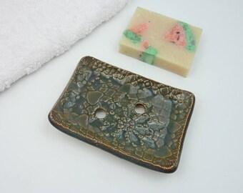 soap dish drain brown ceramic, bathroom draining soap holder saver rest tray