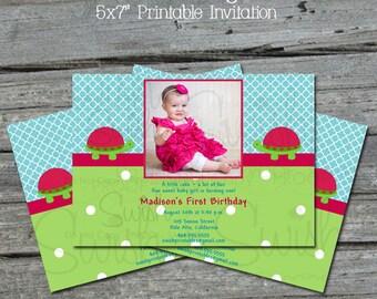 Photo Turtle First Birthday Invitation --- Cute Turtle digital printable party