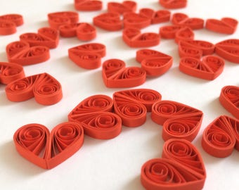 Quilled Hearts Paper Quilling Art Confetti Scatter Ornaments Gifts Fillers Easter Mothers Day Baby Bridal Shower Wedding Red 1