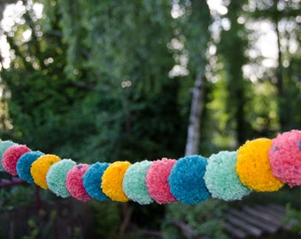 Pom Pom Garland  (16) 2 1/4 inch Pom Poms    Pom Banner - Pom Pom Garland -  Party Decoration- Nursery Garland - Party Pom Pom Garland